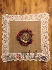 Pack Of 4 Hessian And Lace Square Mats