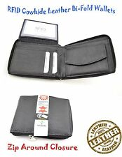 Mens Wallet Leather RFID Protected Wallet Zip Around Closure Coin Pocket Black
