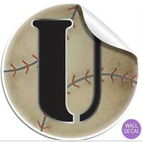 Wall Letter Alphabet Initial Sticker Vinyl Stickers Decals Name Sports Baseball