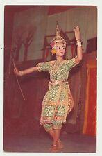 Vtg 1960s Bangkok Thailand Khon A Thai Dancing Girl Rppc Postcard Soma Nimit