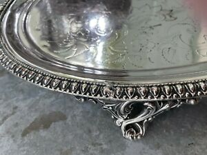 STUNNING! Large Silver - oval embossed oval butler / serving tray