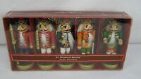 "St.Nicholas Square (Set Of 5) Wood NUTCRACKERS Christmas Ornaments 5"" Tall"