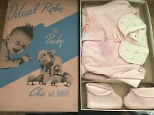 Nos vintage 1940 Ideal Robe for Baby infant girl pink In Box w/booties Bathrobe