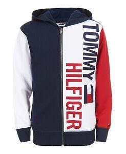 Tommy Hilfiger Boys Lawrence Colorblocked Full-Zip Fleece Logo Hoodie - Grey Hea