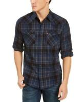 Levi's Men's Collared Long Sleeve Curran Plaid Button-up Shirt (Blue, 2XL)