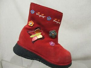 SPROCKETS Red Suede Side Zip Flowers Butterfly Ankle Boots Toddler Size 6