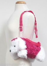 White Puppy Purse Sequin Fuchsia Pink Shoulder or Hand Held White 4D 5H 12L NEW