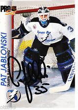 PAT JABLONSKI SIGNED PRO SET NHL 1992-93 TRADING CARD TAMPA BAY LIGHTNING BLUES