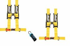 "PRP 4 Point Harness 3"" Seat Belt PAIR Yellow Bypass Polaris RZR Can Am UTV All"