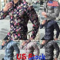 Men's Vintage Slim Fit Floral Print Shirt Casual Long-sleeved Tops Lapel Blouse