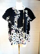 Shirt Blouse Top Black watercolor flower keyhole back S small Juniors