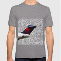 Delta MD-88 tail with Airport Codes - T-Shirt