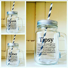 SECONDS Set of 4 Mason Style Drinking Jars Christmas Cocktail Glass Straw & Lid