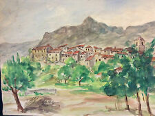 Ribiers vue générale Hautes-Alpes Provence-Alpes-Côte d'Azur aquarelle Lazare