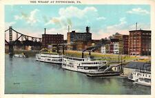 PITTSBURGH, PA  Pennsylvania   BOATS & BUILDINGS ALONG THE WHARF   1929 Postcard