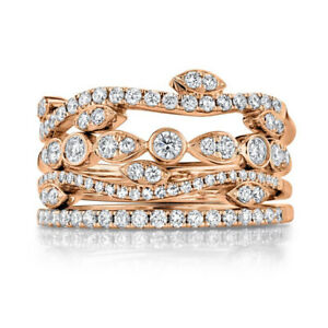 Diamond Stackable 4 Band Ring Stacking Stack 14K Rose Gold Natural Certified 7