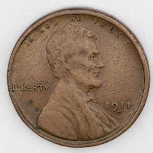 1911 S LINCOLN WHEAT CENT PENNY 1C VF VERY FINE - MATTE FIELDS (3368)