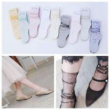 Fashion Women's Bling Crystal Rhinestone Fishnet Socks Silk Mesh Stockings Socks