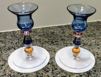 2 Comtemporary Glassware Color Candlestick holders Decorative Holiday Blue Amber