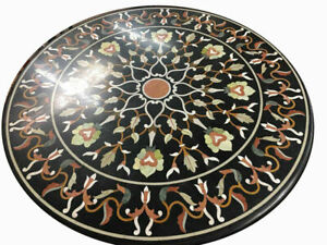 "30"" Black Marble Table Top Pietra Dura Inlay Handmade Craft Home Decor"