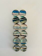 6 Pairs Of 12mm Glass Cabochons #831