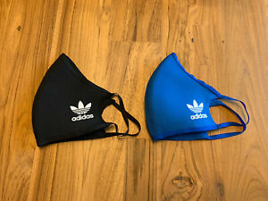 Two 2 Pack Adidas Originals Face Mask Cover Authentic Size Large Black / Blue