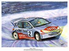 ORIGINAL PAINTING MARCUS GRONHOLM PEUGEOT 206 WRC