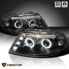 For 2001-2005 VW Passat BLACK LED Dual Halo Projector Headlights Pair + LED