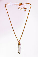 FUNKY GOLD TONE CHAIN CHOKER NECKLACE WHITE/TRANSPARENT RESIN PENDANT (CL21)