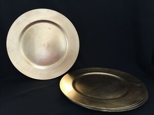 """Nice 13"""" Round Gold Plastic Plate Chargers, set of 5"""