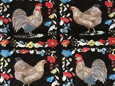 French Hen Fabric Country Provincial Chicken Rooster Floral cotton quilting
