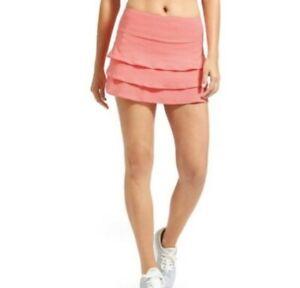 ATHLETA Dot Stripe Swagger Skort Skirt Size Medium Pockets Coral Pink (Z)