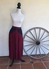 BELLINO PARIS MODE Vintage 1980s Red Black Silk Suede MidCalf Maxi Boho Skirt 16