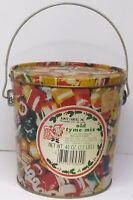 "Vintage Old Tyme Mix Candy Pail Bucket Tin Bucket 6x6"" With Handle Empty"
