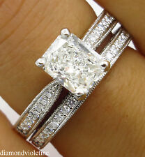 GIA SHY 2.00CT ESTATE VINTAGE RADIANT DIAMOND ENGAGEMENT WEDDING RING SET PLAT