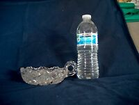 Vintage Clear Glass Candy Bowl w/ Finger Handle Marked ON BOTTOM