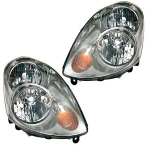 Halogen Headlights Front Lamps Pair Set for 03-04 Infiniti G35 Left & Right