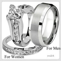 Lovers Fashion Stainless Steel & Titanium Wedding Band Ring Jewelry Set