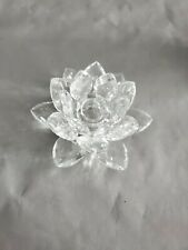 Unmaked Glass Water Lily Lotus CandleStick Holder 2.75'' T ~ 5'' W