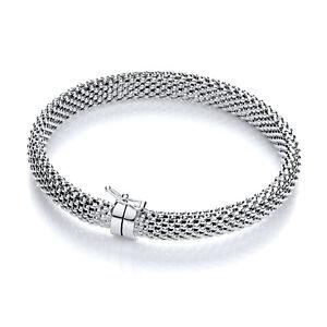 Sterling Silver Bangle J JAZ Ashlee Woven Mesh Box Catch Bracelet