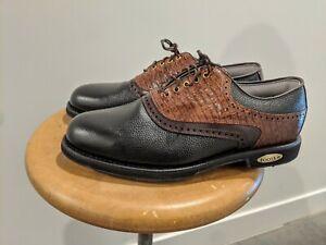 NEW Mens 10.5 D FootJoy Classics Tour Style 51872 Black/Brown Golf Shoes