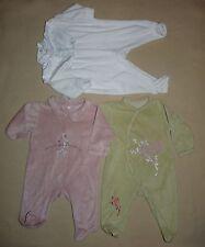 Lot de 3 pyjamas grenouillères en velours bébé fille 3 mois