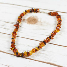 Amber Necklace Bronze Brown Amber Raw Stones Luxury Silver Clasp Handmade Gift