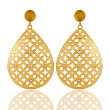 Handmade Filigree 18K Gold Plated Chalcedony Gemstone CZ Drop Earring Jewelry