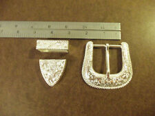 "1 1/2"" Silver Plated Western Floral Buckle Set"