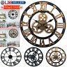 Large Roman Wall Clock Round Traditional Vintage Style Iron Big Numeral Skeleton