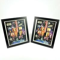 2007 Star Wars Collector Postage Stamp Set Of 2 Pictures Framed In Glass