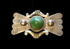 Vintage Heavy Mexican Sterling Silver Pin Brooch Old Mexico Jade Aztec Mayan