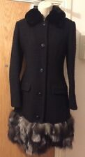 MOSCHINO COUTURE Black Fur Trim Coat Size UK 8/IT 40 RRP £1385 Sold Out!!!
