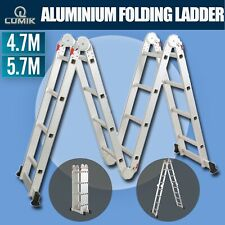 4.7M OR 5.7M Multi Purpose Aluminium Folding Extension Ladder Step Scaffold